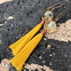 Opihi Hawaiian Shell Gold Yellow Tassel Earrings